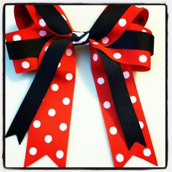 Red, White and Black Polka Dot with Zebra Print Hair Bow