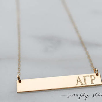 Personalized Bar Necklace, Engraved Bar Necklace,Greek Necklace, Silver, Gold Fill, Rose Gold Fill, Sorority, Big, Little Gift, Sisters