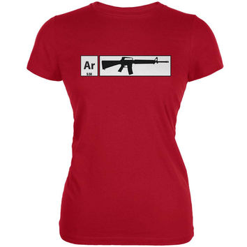AR15 Element Periodic Table Red Juniors Soft T-Shirt