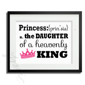INSTANT DOWNLOAD - Christian Princess, Bible, Baby Nursery Wall Art Decor, Princess Printable Poster, Girl, Quote, Inspiration, Typography,
