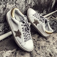 ZOPUDC Breathable Leather Sneakers Women Shoes 2018 Fashion Ladies Vulcanized Shoes Luxury Brand Dirty Sneakers for All Seasons