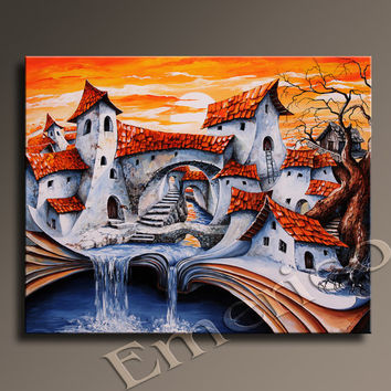 Fairy-tale City painting Large Original Contemporary Fine Art into children's room Wall decor Wall hanging