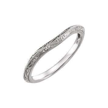 14K White Hand-Engraved Band for 5.2mm Engagement Ring