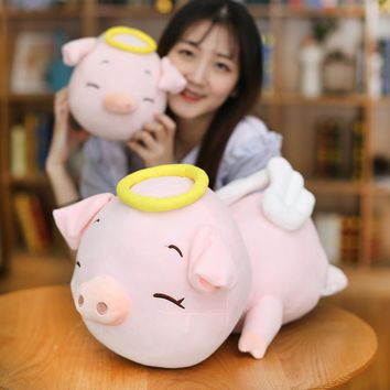 Candice guo! new arrival super cute plush toy lovely wings angel pig pink flying piggy girls children birthday Christmas gift 1p
