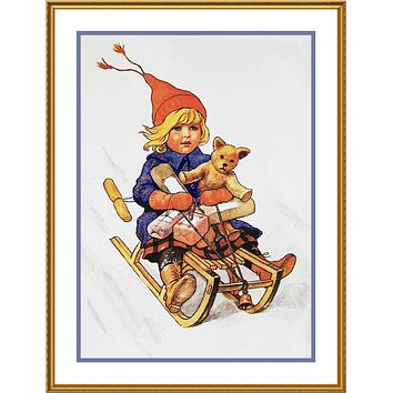 Girl Sledding with a Teddy Bear Jenny Nystrom  Holiday Christmas Counted Cross Stitch Pattern