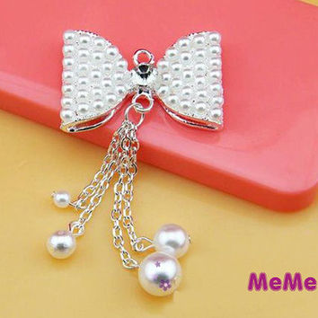 1 Piece Luxury Bling Crystal Alloy Pearl Bowtnot Tassel Kawaii Accessories Charm Cabochon Deco Den on Craft Phone Case DIY Deco kit AA1031