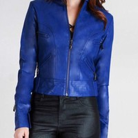 I Got The Blues Cropped Leather Jacket