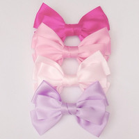 Cute set of 4 satin hair bows barrette clips