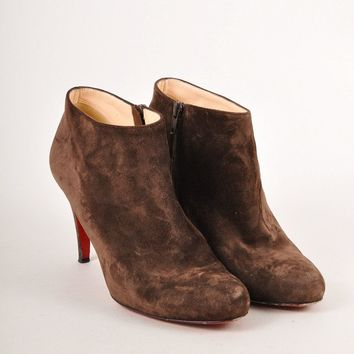 DCCK2 Christian Louboutin Brown Suede Leather High Heel Ankle Booties