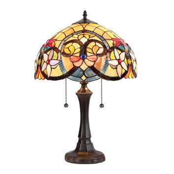 "Judith, Tiffany-Style 2 Light Victorian Table Lamp 16"" Shade"