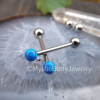 "Cheek Piercing Barbell Opal Barbells Blue Opals Nipple Ring 14g Nipples Dimple Tongue Piercings 5/8"" Internally Threaded Body Jewelry 