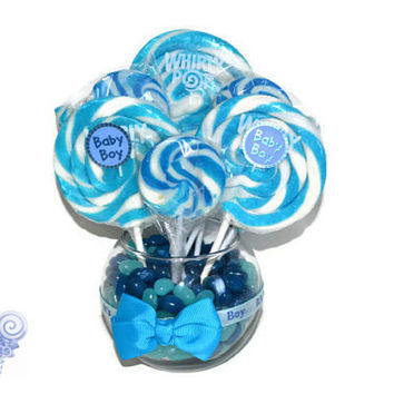 Small Round Blue Lollipop Candy Baby Shower Centerpiece (Its a boy!)