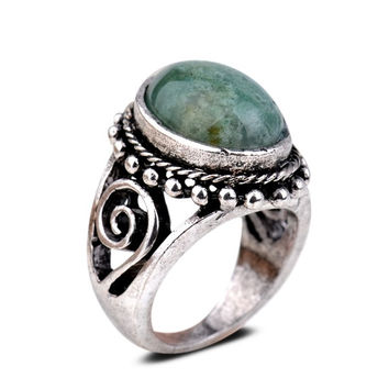 Yazilind Vintage Antique Oval Cut  Jasper Retro Silver Plated 6.5 8 9 Ring Women = 1946712132