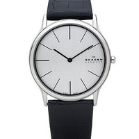 Skagen Denmark Watch, Men's Black Croc Embossed Leather Strap 858XLSLC - All Watches - Jewelry & Watches - Macy's