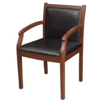 Regency Regent Guest Chair with a Mahogany Wood Frame and Vinyl Seat and Back