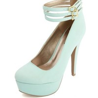 TRIPLE BELTED ANKLE STRAP PLATFORM PUMPS