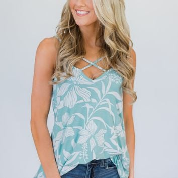 Aloha Floral Criss Cross Tank Top- Light Blue