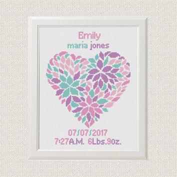 Birth Announcement, baby sampler, baby shower, nursery decor, girl, DIY gift heart design flower decor Cross Stitch Pattern