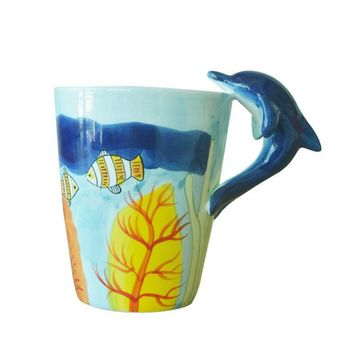 3D Coffee Mug Animal Giraffe Hand Painted Ceramic Cup Elephant Dolphin Penguin Deer
