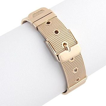 Rose Gold Plated 316L Stainless Steel Belt Style Buckle Bangle Bracelet 8 inches