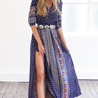 Bohemian Half Sleeve Double Slit Dress