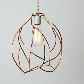 Bare Bulb Pendant Lamp   Industrial Cage Lighting   Artistic Copper Sculpture   Ready To Ship