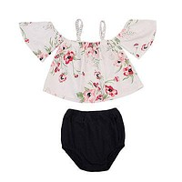 Summer Cute Newborn Infant Baby Girls Floral Off Shoulder Tops + Triangle shorts Outfits Clothes