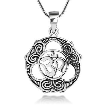 Sterling Silver 22 mm Celtic Peace & Unity Aum Om Ohm Sanskrit Symbol Pendant Necklace 18''