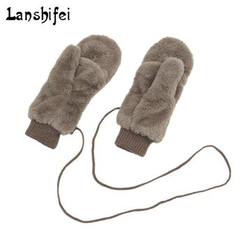 Winter Thickened Cute Whole Covered Finger Mittens Plush Gloves