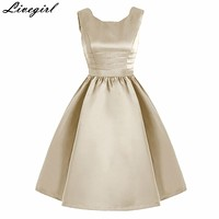 Women Sleeveless Vintage Summer Dress 50s 60s Retro Vintage Rockabilly Audrey Hepburn Big Hem Feminino Vestidos