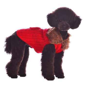 Luxy Faux Fur Dog Sweater - Red, by Dogo Pet Fashions