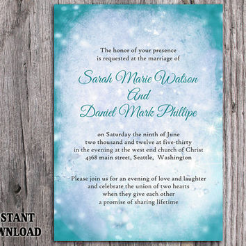 DIY Rustic Wedding Invitation Template Editable Word File Instant Download Printable Invitation Teal Wedding Invitation Blue Invitation