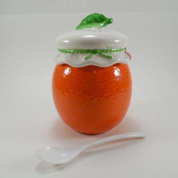 Vintage Lefton China Orange Jam Jar, Jelly Jar, Condiment Server, Lefton Trade Mark Exclusives Japan Hand Painted