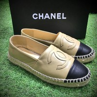 Best Online Sale Fashion Chanel Logo Canvas Khaki Black Espadrilles Flats Stitched Sli