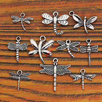 DCCKDZ2 Mixed Tibetan Silver Plated Insect Dragonfly Bee Charms Pendants Jewelry Making Accessories Diy Jewelry Findings Zinc Alloy m004
