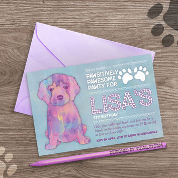Puppy Dog Birthday Invitation for Kids, Printable Golden Retriever, digital diy party invite, watercolor dog, blue or pink, Buy 2 Get 1 Free