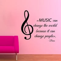 Music Wall Decals Musical Note Quote Music Can Change The World Vinyl Decal Sticker Interior Design Art Mural Kids Nursery Room Decor KG550