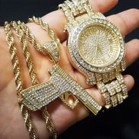 ICED OUT RAPPER'S WATCH & CZ HAND GUN PENDANT SET