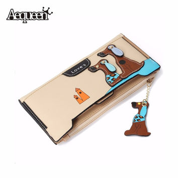 AEQUEEN Leather Cute Dog Wallet Women Long Purses For Girls Wallets Zipper Preppy Coin Purse Patchwork Girl Card Holders Cartoon