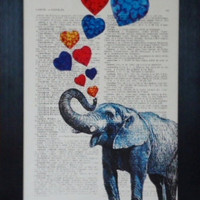 Elephant print love elephant painting print on an vintage french dictionary page elephant mixed media elephant print elephant poster(313)