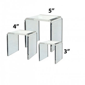 "Cube Counter Top Risers 3"" 4"" 5"" Display Stands Set Of 3"