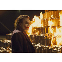 The Joker Dark Knight Movie Burning Money Gallery Print