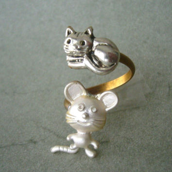cat mouse ring wrap style