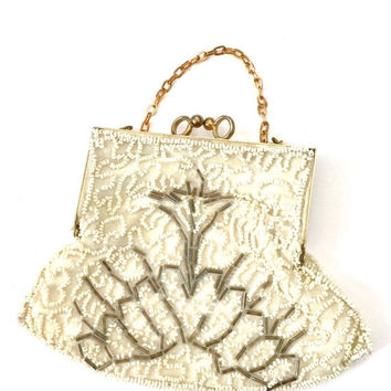 Beaded Wristlet Handbag, Cream Seed Beads & Bronze Tube Beads, Art Deco Design, Ivory Satin Lining, Vintage Bridal Handbag, Special Occasion