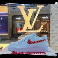Best Online Sale Supreme x LV x Nike Air Force One 1 CDG White Red Sport Shoes Casual