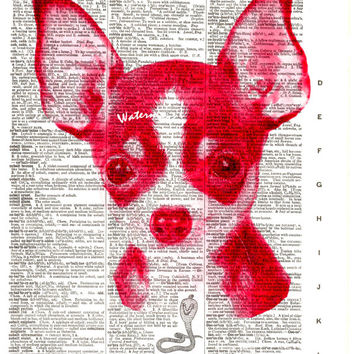 Chihuahua Dog - Red - Vintage Dictionary Art Print - Page Size 8.5x11
