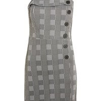Button Check Pinafore Dress - Clothing