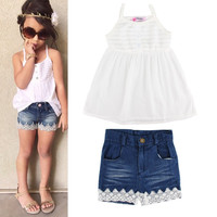 2pcs elegent cute fashion Kids Baby Girls' Tops T-shirt + Lace Denim Pants Outfits Suit Summer Clothes sets free shipping
