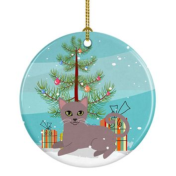 Russian Blue Cat Merry Christmas Tree Ceramic Ornament BB4427CO1