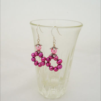 Pearls Earrings, Hot Pink Earrins, Bridesmaede Pearls Earrings, Pink Pearls Earrings